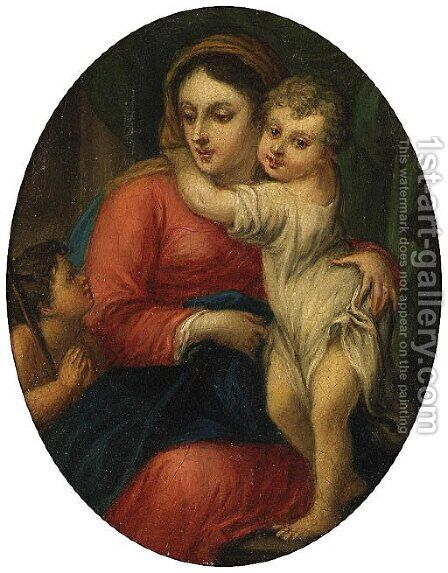 The Madonna and Child with the Infant Saint John the Baptist by (after) Sebastiano Conca - Reproduction Oil Painting
