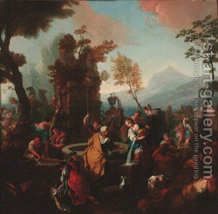 Rebecca and Eliezer at the Well by (after) Sebastiano Ricci - Reproduction Oil Painting