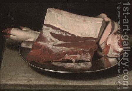 A leg of pork on a pewter plate, on a table by (after) Sebastien Stoskopff - Reproduction Oil Painting