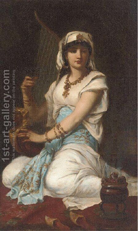 A young girl playing a harp by (after) Simeon Solomon - Reproduction Oil Painting