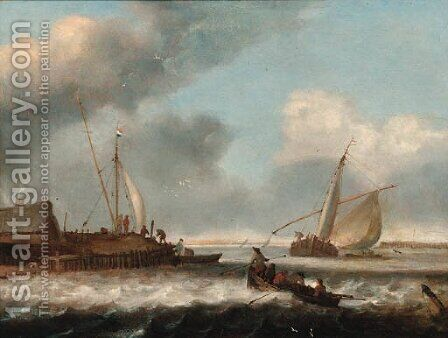 A fishing boat and a rowing boat off shore by (after) Simon De Vlieger - Reproduction Oil Painting