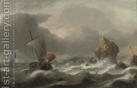 A rocky coastline with shipping in choppy seas by (after) Simon De Vlieger - Reproduction Oil Painting