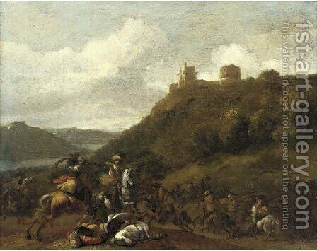 A cavalry skirmish before a hilltop fort by (after) Simon Johannes Van Douw - Reproduction Oil Painting