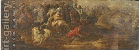 A cavalry skirmish between Turks and Christians by (after) Simon Johannes Van Douw - Reproduction Oil Painting