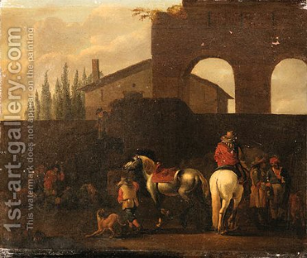 Huntsmen departing from the Courtyard of a Villa by (after) Simon Johannes Van Douw - Reproduction Oil Painting