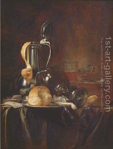 A pewter jug and cover with a peeled lemon by (after) Simon Luttichuys - Reproduction Oil Painting