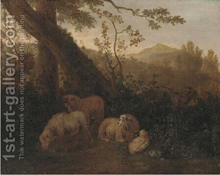 A wooded landscape with sheep in the foreground by (after) Simon Van Der Does - Reproduction Oil Painting