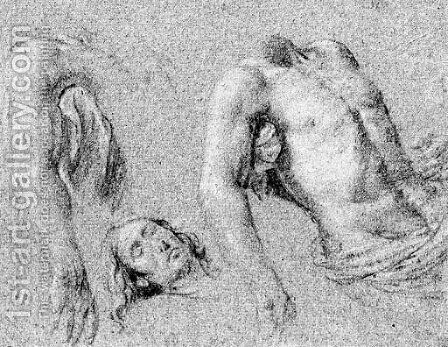 Studies of the right arm, torso and head of Christ, for a Pieta by (after) Simon Vouet - Reproduction Oil Painting