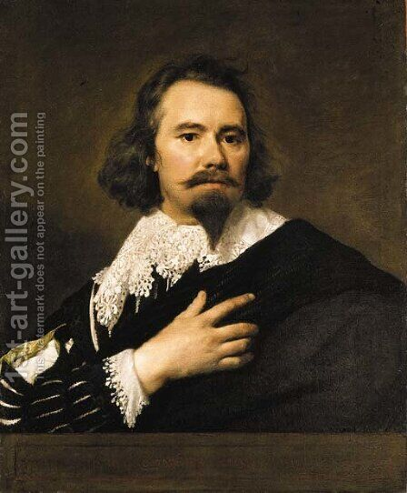 Portrait of a gentleman, bust-length, in a black doublet and white lace collar, a black cloak draped around his shoulder by (after) Dyck, Sir Anthony van - Reproduction Oil Painting