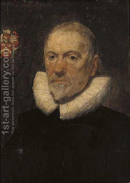 Portrait of a gentleman, thought to be a member of the Philipson family of Calgarth Hall, Westmorland, bust-length, in a lace ruff and black coat by (after) Dyck, Sir Anthony van - Reproduction Oil Painting