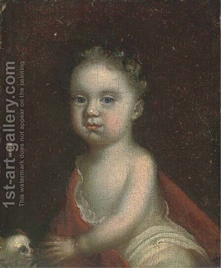 Portrait of a child, three-quarter-length, seated with a dog by (after) Kneller, Sir Godfrey - Reproduction Oil Painting