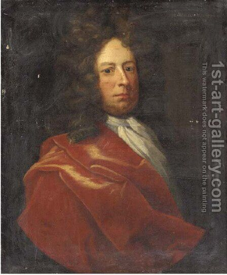 Portrait of a gentleman, half-length, in a red cloak by (after) Kneller, Sir Godfrey - Reproduction Oil Painting
