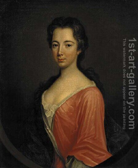 Portrait of Miss Ray, three-quarter-length, in a red dress and blue wrap, feigned oval by (after) Kneller, Sir Godfrey - Reproduction Oil Painting