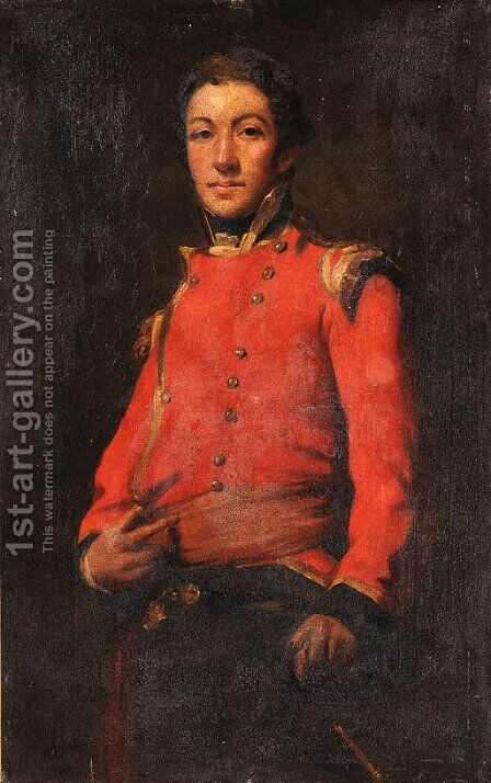 Portrait of an Officer in Uniform by (after) Sir Henry Raeburn - Reproduction Oil Painting