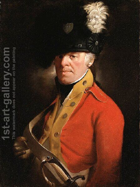 Portrait of an Officer, half length, in Military Uniform by (after) Sir Henry Raeburn - Reproduction Oil Painting
