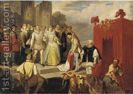 Sir Walter Raleigh laying down his cloak before Queen Elizabeth I by (after) Sir John Gilbert - Reproduction Oil Painting
