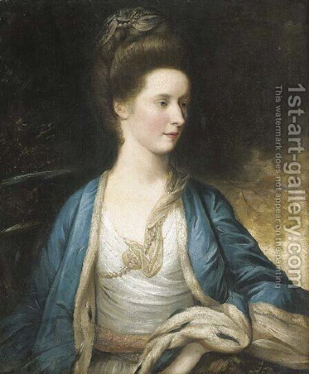 Portrait of Mrs. Hargreave by (after) Sir Joshua Reynolds - Reproduction Oil Painting