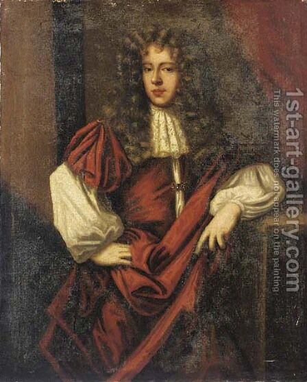 Portrait of a gentleman, three-quarter-length, in a white shirt by (after) Sir Peter Lely - Reproduction Oil Painting