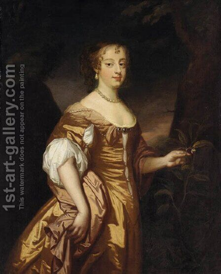Portrait of a lady, three-quarter-length, in a golden dress by (after) Sir Peter Lely - Reproduction Oil Painting