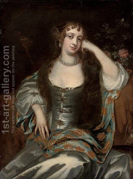 Portrait of a lady, three-quarter-length, seated in an oyster satin dress by (after) Sir Peter Lely - Reproduction Oil Painting