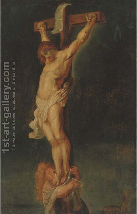 Christ on the Cross with the Magdalen by (after) Sir Peter Paul Rubens - Reproduction Oil Painting