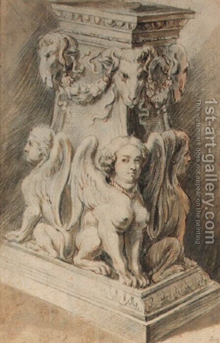 Design for a pedestal with harpies and ram's masks by (after) Sir Peter Paul Rubens - Reproduction Oil Painting