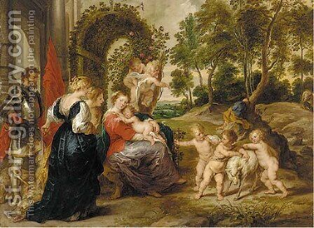 The Virgin of the Rose Garden by (after) Sir Peter Paul Rubens - Reproduction Oil Painting