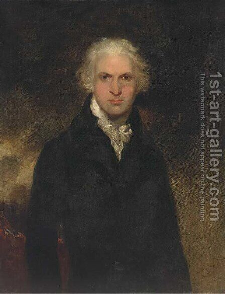 Portrait of a gentleman, thought to be Lord Leverford when Lord Hawkenbury, half-length, in a black jacket and white cravat by (after) Lawrence, Sir Thomas - Reproduction Oil Painting