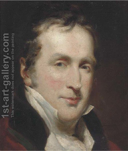 Portrait of a gentleman, bust-length, in a white cravat by (after) Lawrence, Sir Thomas - Reproduction Oil Painting