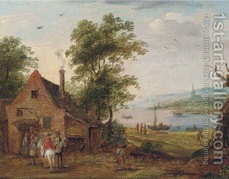 A river landscape with travellers halted at an inn by (after) Theobald Michau - Reproduction Oil Painting