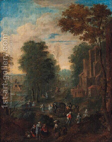 A wooded river landscape with travellers on a road by a ruined castle by (after) Theobald Michau - Reproduction Oil Painting