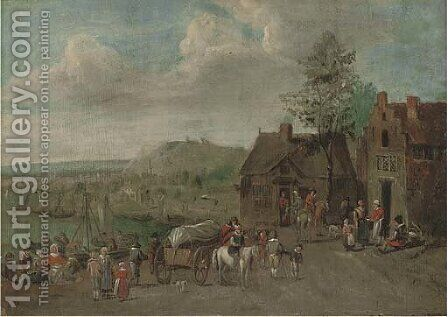 A river landscape with travellers by an inn by (after) Theobald Michau - Reproduction Oil Painting