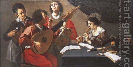 A concert in an interior by (after) Theodoor Rombouts - Reproduction Oil Painting