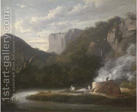 A lime kiln in a wooded river valley by (after) Thomas Barker Of Bath - Reproduction Oil Painting
