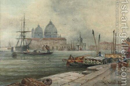 On the waterfront, Venice by (after) Thomas Bush Hardy - Reproduction Oil Painting