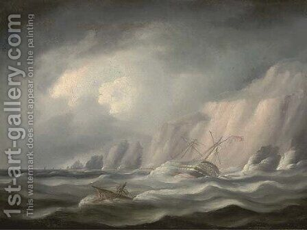 In dangerous waters by (after) Thomas Buttersworth - Reproduction Oil Painting
