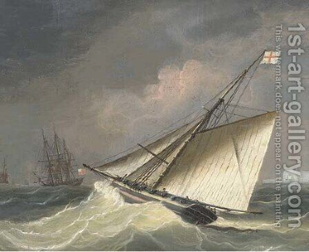 An armed cutter heading out to the squadron offshore by (after) Thomas Sen Buttersworth - Reproduction Oil Painting