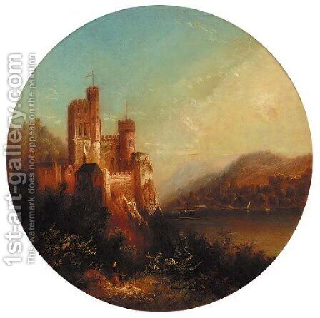 A castle on the shore of a lake; and A ruin on the shore of a lake by (after) Thomas Creswick - Reproduction Oil Painting