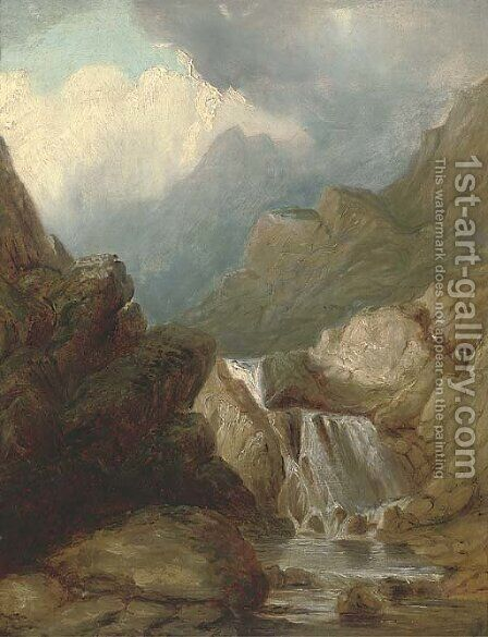 A Highland waterfall by (after) Thomas Creswick - Reproduction Oil Painting