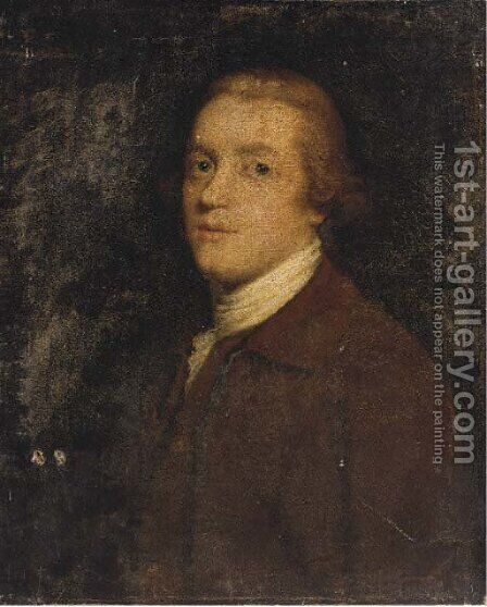 Portrait of a gentleman, bust-length, in a brown coat by (after) Thomas Frye - Reproduction Oil Painting