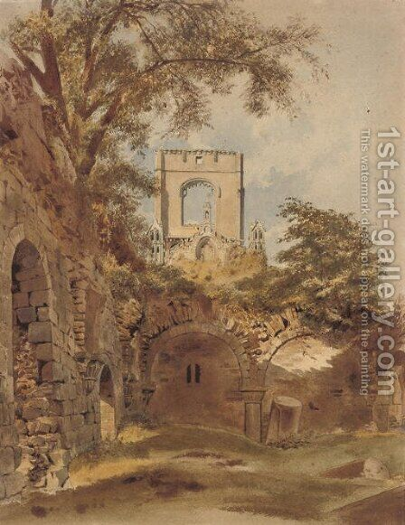 A ruined abbey by (after) Thomas Hartley Cromek - Reproduction Oil Painting