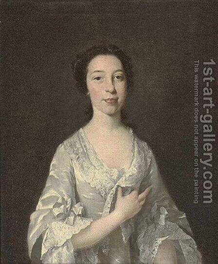 Portrait of a lady, half-length, in an oyster satin dress with lace trim, pearls in her hair by (after) Thomas Hudson - Reproduction Oil Painting
