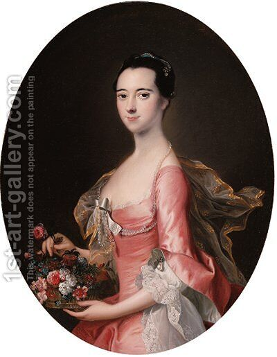 Portrait of a lady, three-quarter-length, in a pink dress, holding a basket of flowers by (after) Thomas Hudson - Reproduction Oil Painting