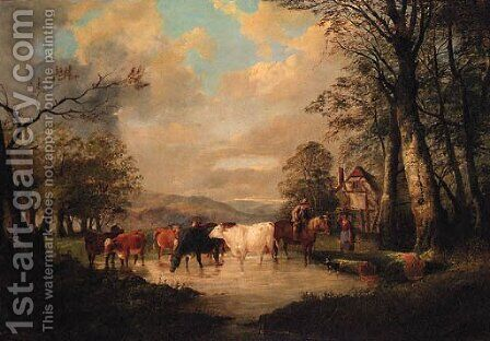 Countryfolk with Cattle watering, a Cottage beyond by (after) Thomas Sidney Cooper - Reproduction Oil Painting