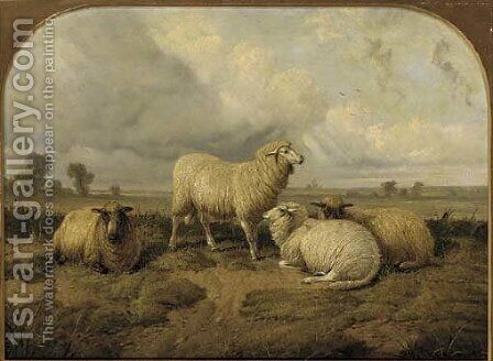 Sheep resting in a meadow by (after) Thomas Sidney Cooper - Reproduction Oil Painting