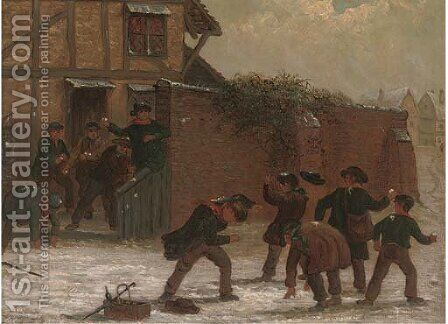 The snowball fight by (after) Thomas Smythe - Reproduction Oil Painting