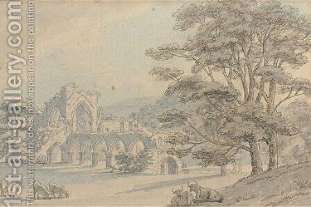 Cattle grazing before Tintern Abbey by (after) Thomas Sunderland - Reproduction Oil Painting