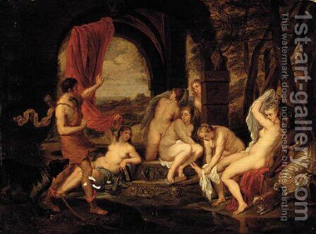 Diana surprised by Actaeon by (after) Thomas Willeborts (Bosschaert) - Reproduction Oil Painting
