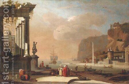 A Mediterranean harbour with Oriental merchants conversing by a ruined temple by (after) Thomas Wyck - Reproduction Oil Painting