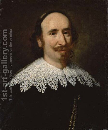 Portrait of a gentleman, bust-length, wearing a black doublet with a lace collar by (after) Tiberio Tinelli - Reproduction Oil Painting